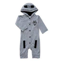 baby jumpsuit i grå med hale og ører