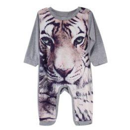 baby heldragt i grå med tigerprint